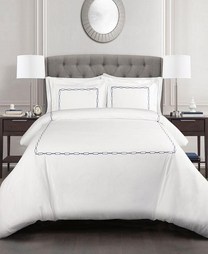 Lush Décor - Hotel Geo Duvet Cover Taupe 3Pc Set Full/Queen