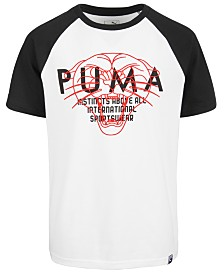 Puma Big Boys Raglan Logo Cotton T-Shirt