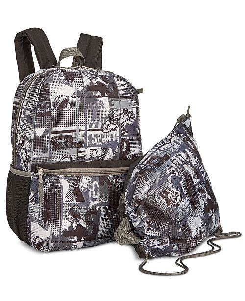 Boys 2 Pc Skate Print Backpack Drawstring Bag Set