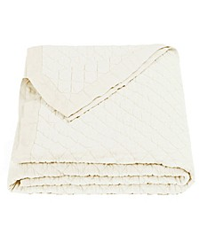 HiEnd Accens Diamond Pattern Linen Queen Quilt in Vintage White