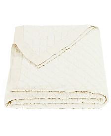 HiEnd Accens Diamond Pattern Linen Queen Quilt in Vintage White