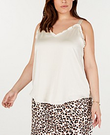 Plus Size Ruffled-Trim Camisole, Created for Macy's
