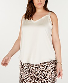 Bar III Plus Size Ruffled-Trim Camisole, Created for Macy's