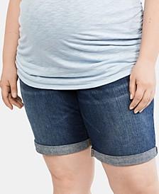 Plus Size Cuffed Denim Shorts