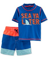 406d2fc93b Carter's Baby Boys 2-Pc. Graphic-Print Rash Guard & Swim Trunks Set