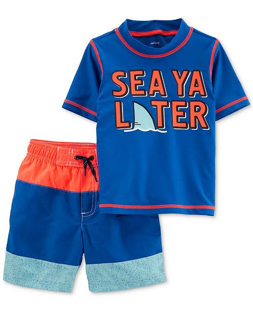 f9f9c73285561 ... Carter's Baby Boys 2-Pc. Graphic-Print Rash Guard & Swim Trunks ...