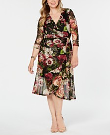 Connected Plus Size Floral Mesh Wrap Midi Dress