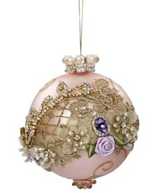 Mark Roberts Floral Jewel Pink Ball Ornament - 5 Inches