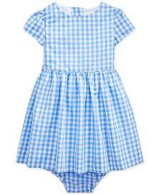 Polo Ralph Lauren Baby Girls Checked Taffeta Dress & Bloomer