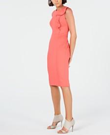 Calvin Klein Side-Ruffle Sheath Dress