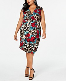Plus Size Printed Zip Wrap Dress
