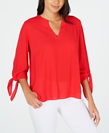 MICHAEL Michael Kors V-Neck Tie-Sleeve Top, Regular & Petite Sizes