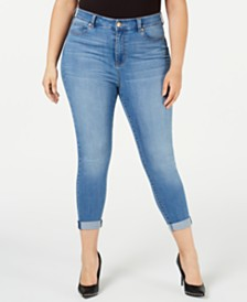 Celebrity Pink Trendy Plus Size Cropped Skinny Jeans