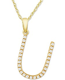 "Diamond (1/10 ct. t.w.) Initial Pendant Necklace in 10k Gold, 16"" + 2"" extender"