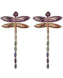 Mutli-Colored Cubic Zirconia Dragon Fly Stud Earring
