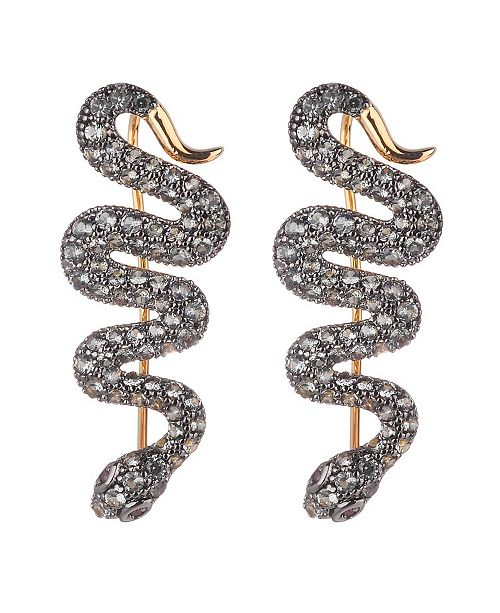 nOir Cubic Zirconia Snake Crawler Earring
