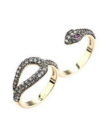 Cubic Zirconia Double Finger Snake Ring