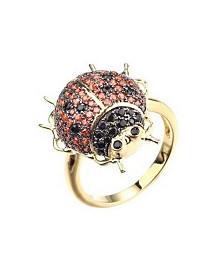 Noir Red/Black Cubic Zirconia Ladybug Ring