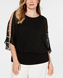 Plus Size Rhinestone-Trim Blouson Top