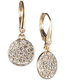 DKNY Gold-Tone Micropavé Disc Drop Earrings