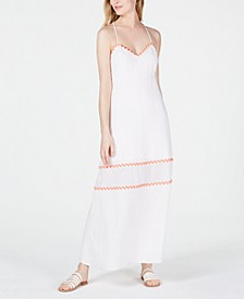 Randi Embroidered-Trim Open-Back Dress