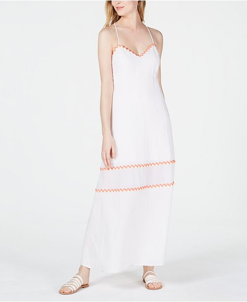 Line & Dot Randi Embroidered-Trim Open-Back Dress