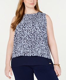 MICHAEL Michael Kors Plus Size Layered-Look Cutaway-Back Top