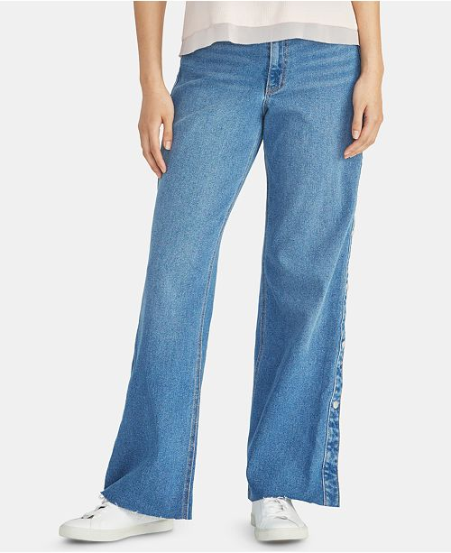 RACHEL Rachel Roy Snap-Side Raw-Hem Jeans
