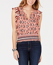 Juniors' Printed Pleated-Front Blouse, Created for Macy's