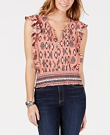 American Rag Juniors' Printed Pleated-Front Blouse, Created for Macy's