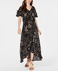 Juniors' Printed Wrap-Front Maxi Dress, Created for Macy's