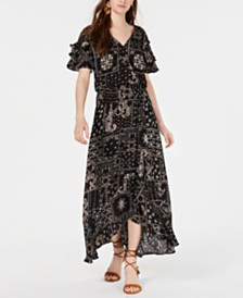 American Rag Juniors' Printed Wrap-Front Maxi Dress, Created for Macy's
