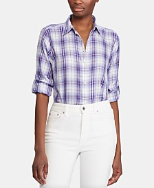 Lauren Ralph Lauren Petite Plaid Roll-Tab Button-Down Shirt