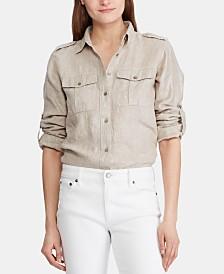 Lauren Ralph Lauren Petite Utility-Inspired Linen Shirt