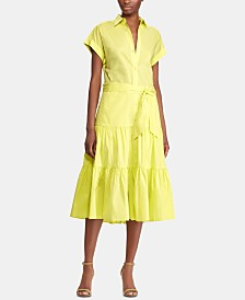 Lauren Ralph Lauren Petite Tiered-Ruffle-Hem Dress