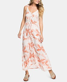 Roxy Juniors' Floral-Print Lace-Trim Maxi Dress