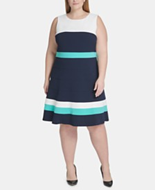 Tommy Hilfiger Plus Size Colorblocked A-Line Dress