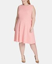1b286080b5b Tommy Hilfiger Plus Size Gingham-Print Fit & Flare Dress