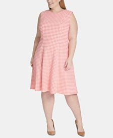 Tommy Hilfiger Plus Size Gingham-Print Fit & Flare Dress