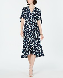 Jessica Howard Petite Floral Flounce Wrap Midi Dress