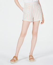 Line & Dot Striped High-Waist Shorts