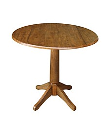 "42"" Round Dual Drop Leaf Pedestal Table 30.3""H, Pecan"
