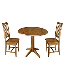 "42"" Round Top Pedestal Table with Two Chairs"