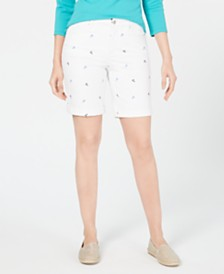 Charter Club Embroidered Tummy-Control Shorts, Created for Macy's