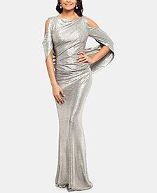 Betsy & Adam Metallic Cold-Shoulder Gown