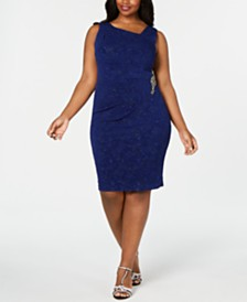 Alex Evenings Plus Size Embellished Glitter Sheath Dress