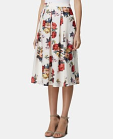 Tahari ASL Floral-Print Pleated Skirt