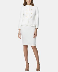 Tahari ASL Tiered Peplum-Hem Jacket & Slit-Back Pencil Skirt