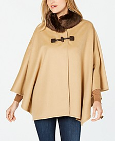 Faux-Fur-Collar Cape Coat