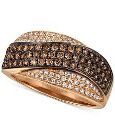 Le Vian Chocolatier® Chocolate Diamond® & Vanilla Diamond® Statement Ring (3/4 ct. t.w.) in 14k Rose Gold